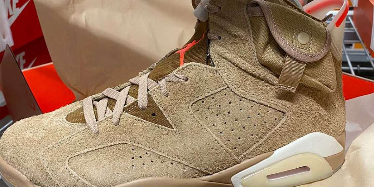 "DH0690-200 Travis Scott x Air Jordan 6 ""British Khaki"" spy photos exposed"